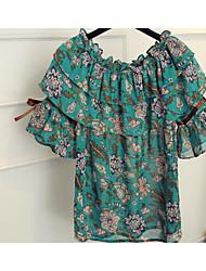 Для женщин Другое Повседневные Блуза Круглый вырез,Простое Цветочный принт С короткими рукавами,Другое