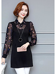 Women's Graduation Sophisticated Blouse,Floral Shirt Collar Long Sleeve Others