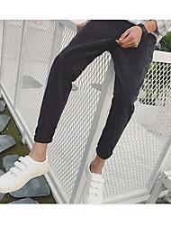 Masculino Moda de Rua Cintura Média Micro-Elástica Chinos Calças,Delgado Sólido Carta e Número,Côr Pura
