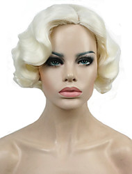 New Short Finger Wave Copper Full Synthetic Wig Blonde Retro Wigs