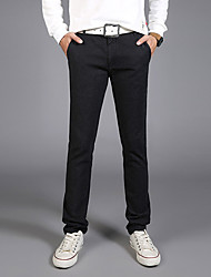 Men's Mid Rise Micro-elastic Chinos PantsSimple Slim Solid CR-6620