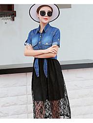 Для женщин Лето Рубашка Юбки Костюмы V-образный С короткими рукавами Слабоэластичная