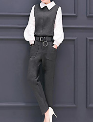 Women's Work Street chic Spring Shirt Pant Suits,Solid Shirt Collar Long Sleeve