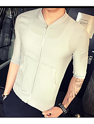 Men's Other Casual Jackets Casual Summer Fall Jacket,Solid Square Neck Half Sleeve Short Other
