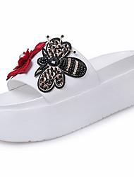 Women's Slippers & Flip-Flops Comfort PU Summer Casual Walking Comfort Beading Creepers White Black 2in-2 3/4in