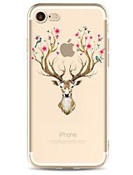 Pour Apple iphone 7 7 plus 6s 6 plus housse couvercle motif de cerf peint haute pénétration tpu matériel étui souple cas de téléphone