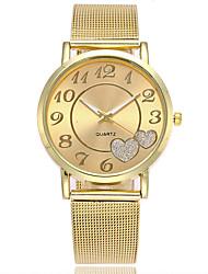 XU Neutral Quartz Alloy Mesh Belt Contracted Heart-shape Dress Watch