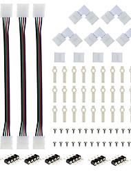 Комплект-4 шт. Разъем для прокладки ленты RGB 4-проводной 10 мм с 5шт. L-образный паяльник без разъема 5шт. Бесщеточный разъем 30 шт.
