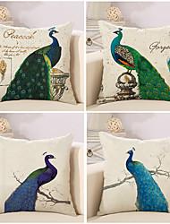 4 PC Algodón/Lino Cobertor de Cojín Funda de almohada,Animales Novedad Moda Vintage Casual Neoclasicismo Europeo Retro Tradicional/Clásico