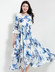 BORME Women's Going out Casual/Daily Vintage Boho Chiffon Swing DressFloral Round Neck Maxi Half Sleeve Polyester Chiffon Spring SummerHigh