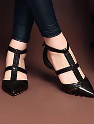 Damen Sandalen Komfort Leuchtende Sohlen PU Sommer Normal Komfort Leuchtende Sohlen Weiß Schwarz Flach