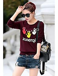 Damen Muster Einfach Normal T-shirt,Rundhalsausschnitt Langarm Baumwolle