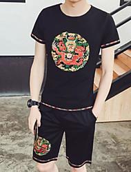Herren Muster Einfach T-shirt,Rundhalsausschnitt Sommer Kurzarm Baumwolle