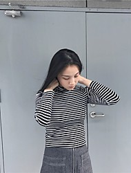 Women's Going out Simple Polo,Striped Turtleneck Long Sleeve Cotton