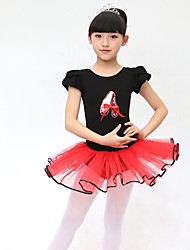 Ballet Kid's Cotton Bowknot 2 Pieces Short Sleeve Dress Headpieces