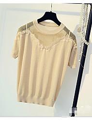 Для женщин Лето Блуза Круглый вырез,Простое Однотонный С короткими рукавами,Искусственный шёлк Полиэстер,Полупрозрачная