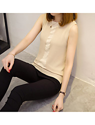 Women's Casual Simple Blouse,Solid Round Neck Sleeveless Polyester