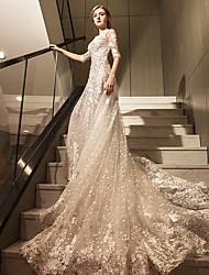 A-ligne scoop train cathédrale robe de mariage en tulle avec appliques en cristal appliques dentelle