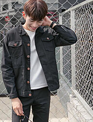 Men's Daily Modern/Comtemporary Spring Denim Jacket,Print Letter Stand Long Sleeve Regular Cotton Others