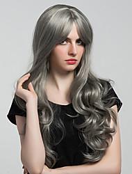 Elegant Gray Long Wavy Hair Synthetic Wig For Women