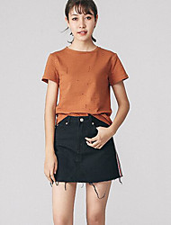Tee-shirt Femme,Points Polka simple Manches Courtes Col en V Coton