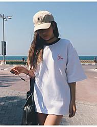 Damen Buchstabe Einfach Ausgehen T-shirt,Rundhalsausschnitt Sommer Kurzarm Baumwolle
