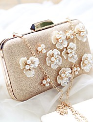 Women Evening Bag PU All Seasons Event/Party Party & Evening Date Baguette Flower Magnetic Champagne