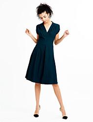 Swing Robe Aux femmes Sortie Vintage / simple / Chic de Rue,Couleur Pleine V Profond Mi-long Manches CourtesBleu / Rouge / Noir / Vert /