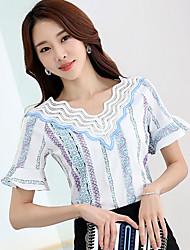 Tee-shirt Femme,Imprimé simple Manches Courtes Col en V Coton