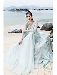 Women's Holiday Chinoiserie Swing Dress,Solid V Neck Maxi Long Sleeve Polyester Summer Low Rise Inelastic Thin