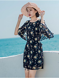 Women's Vacation Simple Loose Dress,Floral Round Neck Above Knee Long Sleeve Polyester Summer Mid Rise Inelastic Thin