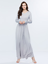 Women's V Neck Solid Plus Size / Party Boho Long Slim Sheath Maxi Dress