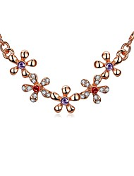 Women's Choker Necklaces Pendant Necklaces Cubic Zirconia AAA Cubic Zirconia Flower Geometric IrregularRose Gold Organic Glass Crystal