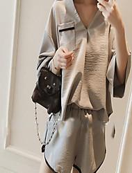 Feminino Japonesa/Curta Calça Conjuntos Verão Decote V Micro-Elástica