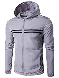 Men's Sport Casual/Daily Casual/Daily Sport Spring/Fall Winter Jacket,Solid Hooded Long Sleeve Regular Polyester