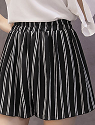 Women's High Rise strenchy Loose Shorts Pants,Cute Simple Loose Stripe Chiffon Striped