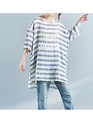 Damen Gestreift Einfach Sonstiges Normal T-shirt,Rundhalsausschnitt 3/4 Ärmel Andere