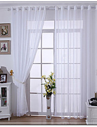 TWO Panel 150*250cm Linen Tulle Curtains For Home White Sheer/ Voile Curtains Solid Color