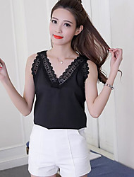 Women's Going out Vintage Blouse,Solid V Neck Sleeveless Others