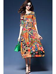 Women's Casual/Daily Simple Sheath Dress,Floral Round Neck Midi Short Sleeve Silk Summer High Rise Micro-elastic Medium