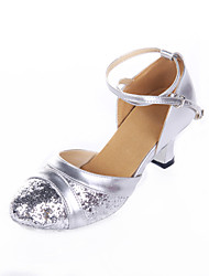 "Women's Modern Leatherette Paillette Heels Indoor Splicing Heel Blushing Pink Pool Ruby Silver Black 2"" - 2 3/4"" Customizable"