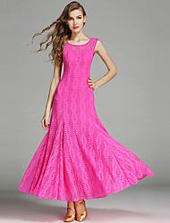 Ballroom Dance Dresses Women's Performance Lace Tulle Milk Fiber 1Piece/Set Sleeveless Natural Dress