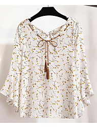 Women's Casual Sexy Blouse,Print Shirt Collar Long Sleeve Others
