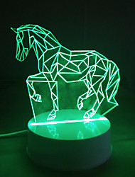 3D Acrylic LED Lamp Horse Shape Night Lights for Kids Room Decorative Lamps Remote Control Lights Lamps for Family Love