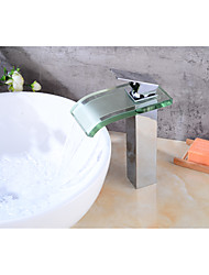 Centerset Waterfall with  Ceramic Valve One Hole for  Electroplated , Bathroom Sink Faucet