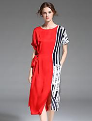 Для женщин Простое Изысканный Прямое Оболочка Платье Полоски Контрастных цветов,Круглый вырез Средней длины С короткими рукавами Полиэстер