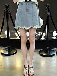 Women's High Waist Above Knee Skirts Street chic A Line Denim Holes Tassel Solid Preppy Chic