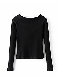 Tee-shirt Femme,Rayé Décontracté Sexy Manches Longues Epaules Dénudées Coton