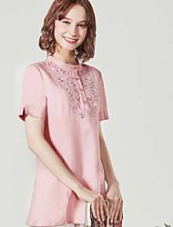 Dámské Jednobarevné Tisk Běžné/Denní Jednoduché Košile Bavlna Podšívka Kulatý Krátký rukáv