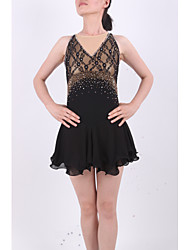 Robe de Patinage Femme Fille Sans Manches Patinage Jupes & Robes Robes Haute élasticité Robe de patinage artistique StrassSpandex